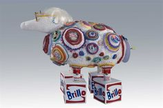 "Leslie Blackmon's ""Baa-Andy Warhol""  Crochet Sculpture  27""H x 24""W x 16""D"