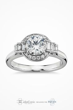 Colin Cowie Cascade Halo Diamond Engagement Ring in Platinum. Uniquely brilliant, this halo engagement ring features baguette-cut diamonds that scale down to the shank of the ring, all set in enduring platinum.