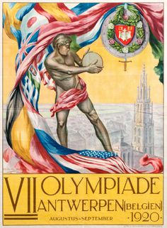 Official poster for the 1920 Antwerp Olympic Games by Martha van Kuyck and Walter van der Ven.