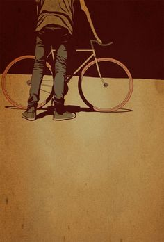 A very nice illustration of a men seen from behind holding his bike.The full illustration gives an amazing vibe of smothness and the range chossen for the colors are beautyful. A lovely piece of art it is done by -- Adams Carvalho