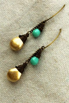 Sunshine and Rain Glass and Brass Earrings by LuMagoo on Etsy,