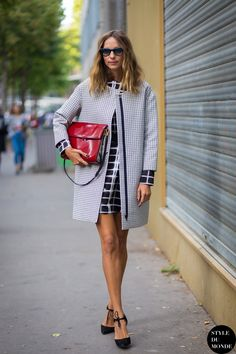 checkered dress with coat