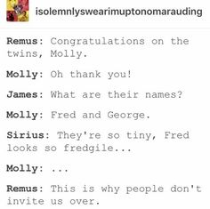 I've always wondered whether the Marauders knew Molly, because her brothers were in the Order with them.