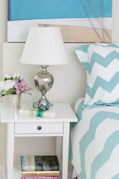 Beachy Bedroom with Urban Outfitters ZigZag Bedding - Phillips deVeer Interiors via House of Turquoise blog