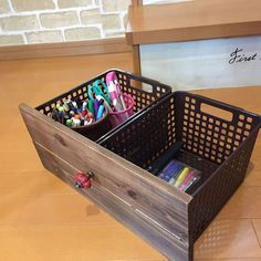 Craft Storage, Storage Baskets, Daiso Japan Products, Diy Home Furniture, Drawer Shelves, Diy Home Crafts, Crates, Woodworking Projects, Home Decor
