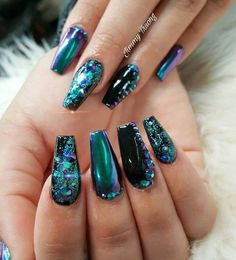 Long Acrylic Nail Designs Beautiful You Should Stay Updated with Latest Nail Art Designs Nail Different Nail Designs, New Nail Designs, Acrylic Nail Designs, Chrome Nails Designs, Fancy Nails, Trendy Nails, My Nails, Teal Nails, Teal Nail Art