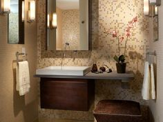 Half-Bath Hacks: Floating basin and vanity >> http://www.diynetwork.com/bathroom/17-clever-ideas-for-small-baths/pictures/page-16.html?soc=pinterest