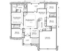 First Floor Plan of Bungalow   Cabin   Cottage   Country   Craftsman   Farmhouse  Southern   Traditional   House Plan 74736