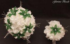2 PC SET Lily Bridal Bouquet Wedding BEADED FLOWERS Green and White rose dahlia #GloriousBeadsBeadedFlowers