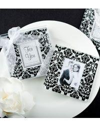 Damask Glass Photo Coaster Favor Set  http://www.creative-theme-wedding-ideas.com/1940s_Theme_Wedding.html#decorations