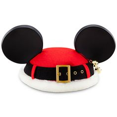 Santa Mouse Ear Hat. I want one just to wear around the house for Christmas!