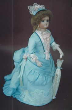 "16""ANTIQUE FRENCH FASHION LADY DOLL BUSTLE BALL GOWN/DRESS&HAT&UNDERWEAR PATTERN 