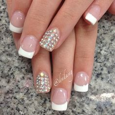 French tips with diamond accent nails