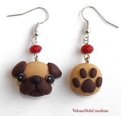 Pug and paw print dog earrings