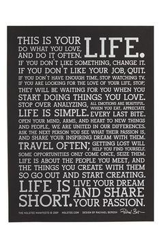 Holstee Manifesto Poster available at #Nordstrom