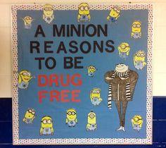 bulletin board Minion Bulletin Board, Counseling Bulletin Boards, Bulletin Board Display, Classroom Bulletin Boards, School Classroom, Classroom Displays, Classroom Organization, School Projects, School Ideas