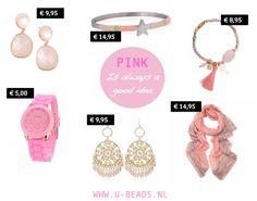 WE LOVE PINK! Is roze ook jouw favoriete zomerkleurtje? Shop al jouw favoriete roze sieraden en accessoires op www.u-beads.nl  Voor 16.00 uur besteld = dezelfde dag verzonden.  Altijd GRATIS verzending binnen NL en BE!