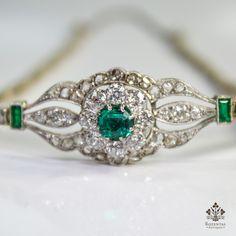 Antique Edwardian 18k Gold Diamond a Emerald náramek