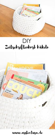 Crochet DIY basket for magazines – Instructions crochet utensil with spagetti yarn The post Crochet magazine basket from zpagetti yarn appeared first on Woman Casual. Crochet Tools, Crochet Diy, Crochet Motifs, Easy Yarn Crafts, Upcycled Crafts, Fabric Crafts, Magazine Crochet, Tshirt Garn, Knitting Patterns