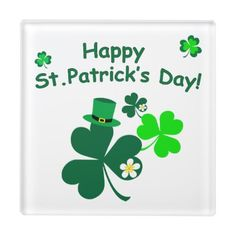 Happy St. Patrick's Day Glass Coaster - st patricks day gifts Saint Patrick's Day Saint Patrick Ireland irish holiday party