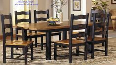 "Country Marketplace - Solid Oak 40"" x 58"" Junior Harvest Table and 4  Ladderback Chairs, $1,599.00 (http://www.countrymarketplaces.com/solid-oak-40-x-58-junior-harvest-table-and-4-ladderback-chairs/)"
