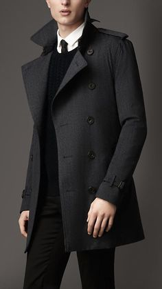 ♂ Masculine and elegance man's fashion wear black Mid-Length Technical Wool Trench Coat | Burberry