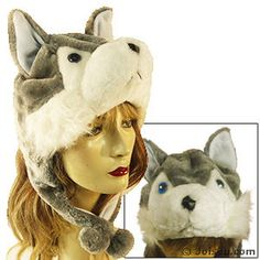 PLUSH WOLF HATS. With button eyes and super-soft fur, these fully-lined plush hats are the hippest hats on the block.  One size fits most