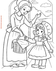 little red riding hood, karkulka Farm Animal Coloring Pages, Coloring Sheets For Kids, Pattern Coloring Pages, Bible Coloring Pages, Cute Coloring Pages, Adult Coloring, Coloring Books, Fairy Tale Activities, Red Riding Hood Party