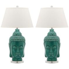The Safavieh Serenity Buddha Table Lamps feature delicately wrought details that call to mind the iconic Eastern symbol. The pure, contemporary design of this striking lamp is topped with a cotton shade and brings a trendy accent to your space. Light Table, Lamp Light, Buddha Lamp, Light Bulb Wattage, Tiffany Lamps, Table Lamp Sets, Ceramic Table Lamps, Unique Lamps, Serenity