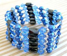 blue crystal/hematite necklace
