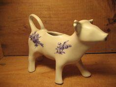 COW CREAMER - VINTAGE HOAN - BLUE FLOWERS - GENUINE PORCELAIN MADE IN FRANCE