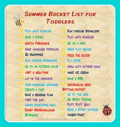 Schedule of a Stay at Home Mom / Summer Bucket List for Toddlers Toddler Play, Toddler Activities, Activities For Kids, Toddler Stuff, Indoor Activities, Toddler Learning, Alphabet Activities, Kindergarten Activities, Toddler Preschool