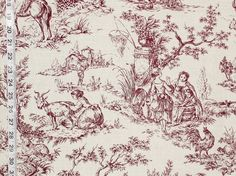 Purple brown toile fabric French country- destash- 2 yards from Brick House Fabric: Novelty Fabric