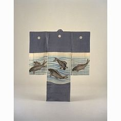 incorrectly titled, but obviously a Miyamairi Kimono, with Carp in Flowing Water on Grey-Blue Ground, Meiji Period, 19th c, Kyoto National Museum