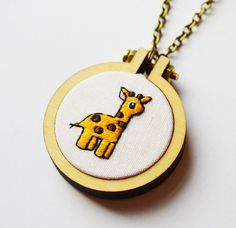 Giraffe Embroidery Hoop Necklace or Brooch Tiny 4cm Miniature Hand Embroidery