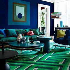 """Mi piace"": 864, commenti: 5 - Interior Design Inspiration (@globalinteriordesign) su Instagram: ""@lizziemontgomerydesign Design by Dennis Valencia #blueandgreen #livingroom #contemporaryinterior…"""