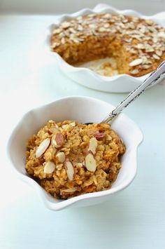 Stew or a Story: Pumpkin Baked Oatmeal with Crunchy Almond Topping