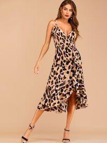 UK Women Leopard Swing Dress Ladies Casual V Neck Short Sleeve Skater Mini Dress