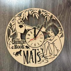 The Jungle Book Wall Wood Clock $31.99 Size - 12 in / 30 cm Really cool gift and unique home decoration ;) Can be personalized for free ;) Free Shipping WORLDWIDE. Tracking ID is provided. In case the clock comes broken or with defect, I will make you a refund or will send you a replacement!
