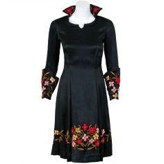 1920s Elegant Floral Embroidered Black Satin Poet-Sleeves Deco Flapper Dress