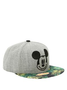 Grey snapback hat with embroidered Mickey Mouse logo and tropical floral sublimation print bill.