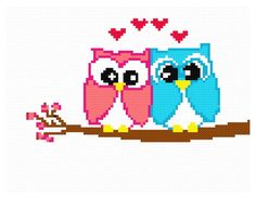 Items similar to Pink and blue owls cross stitch e-pattern on Etsy