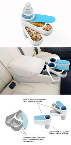 """'The Lunch on the Go: Snack Cup' is a cleverly designed, nesting """"lunchbox"""" that takes advantage of your ride's cupholders so you can avoid the mess... READ MORE at Yanko Design !"""