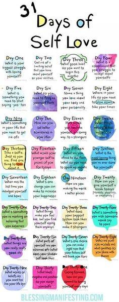 31 days of self love #selfcare #selflove