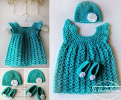 Crochet Dress Hat and Slippers FREE Pattern