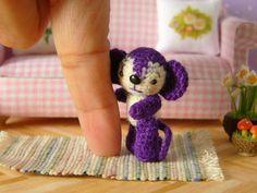 Muffa's  Miniature Amigurumi Purple Monkey by MuffaMiniatures, $45.00