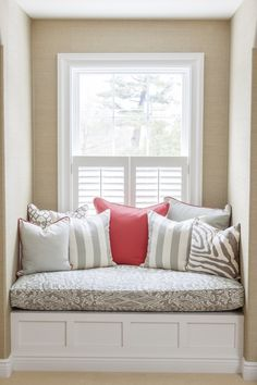 Neutral nook with a pop of red: http://www.stylemepretty.com/vault/gallery/18034 Photography: Courtney Apple - http://courtneyapple.com/