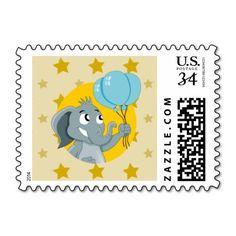 Elephant cartoon postage stamp
