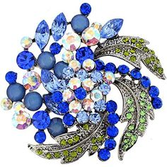 Multi Blue Flower Wedding Swarovski Crystal Pin Brooch and Pendant by Fabuzone -- Awesome products selected by Anna Churchill