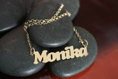 Gold plated sterling silver personalized name pendant necklace